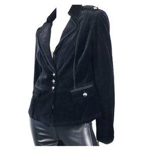 Black Velvet Jacket Military Blazer M